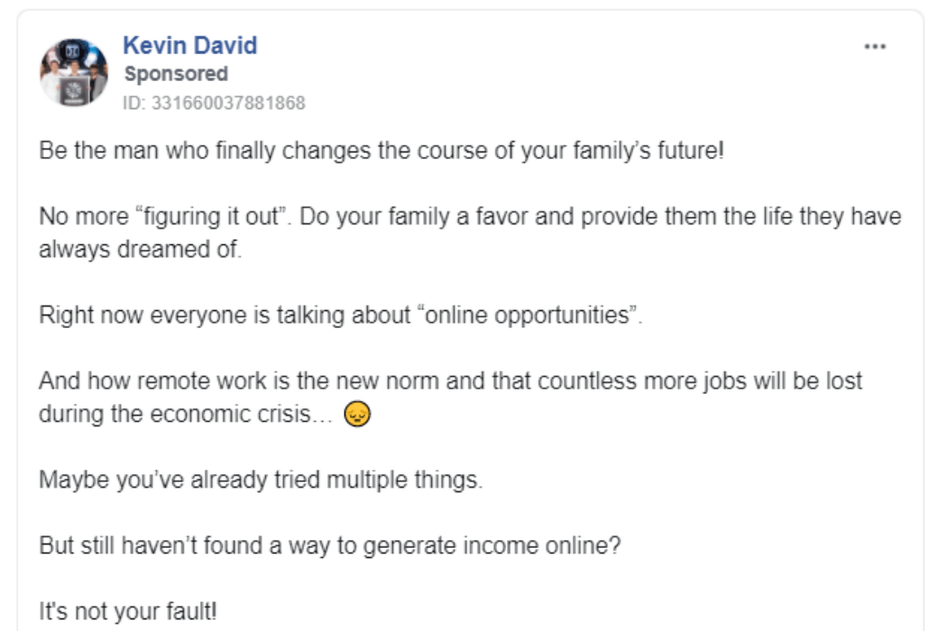 Kenneth Parkja's famous Facebook ad sample that generated over $600,000 for his client. Click to view the full ad copy.