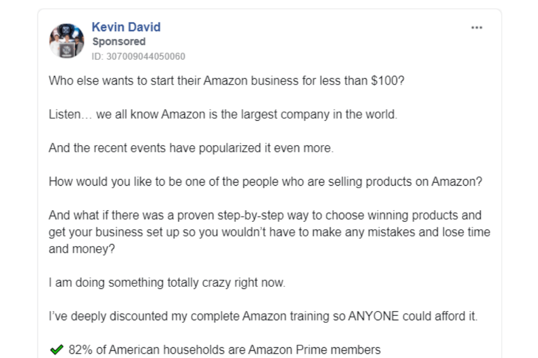 Creative Facebook ad copy for selling a low-ticket Amazon program. Click to enlarge.